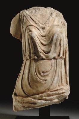 A ROMAN MARBLE DRAPED FEMALE T