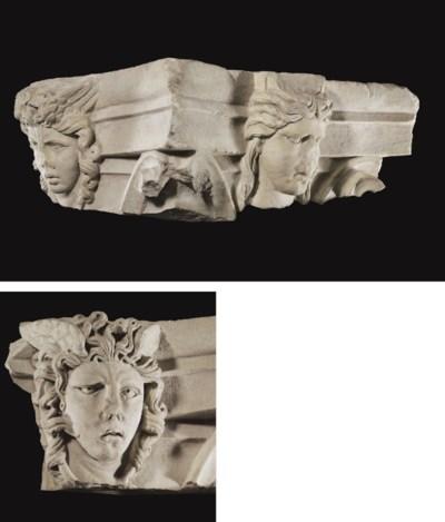 A ROMAN MARBLE CAPITAL FRAGMEN