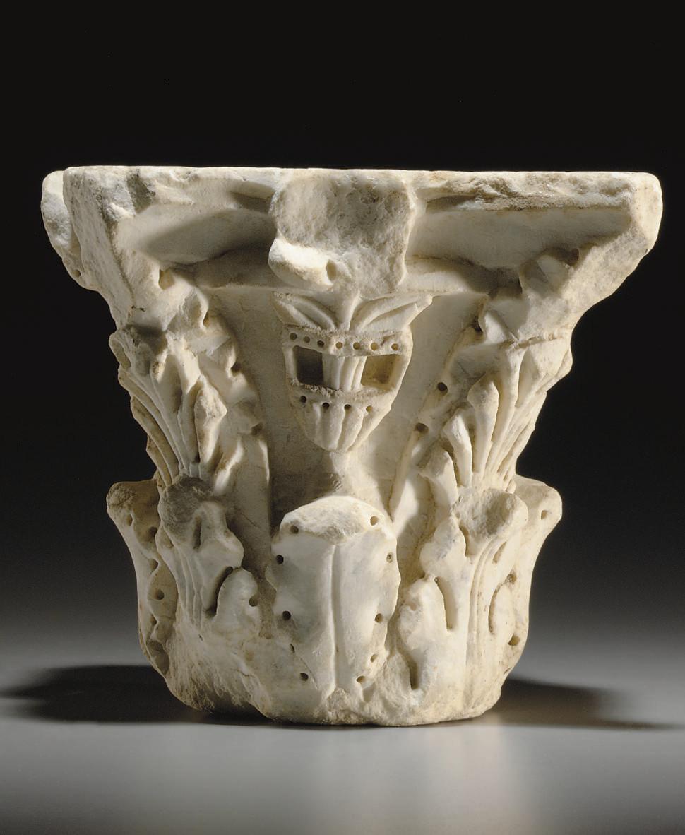 A ROMAN MARBLE COLUMN CAPITAL