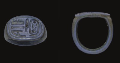 AN EGYPTIAN FAIENCE FINGER RIN