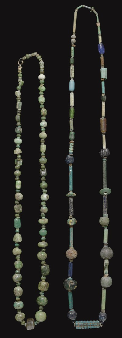 TWO EGYPTIAN BEAD NECKLACES
