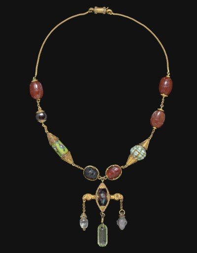 A NECKLACE OF ETRUSCAN SCARABS