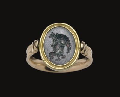 A ROMAN SPECKLED JASPER RINGST