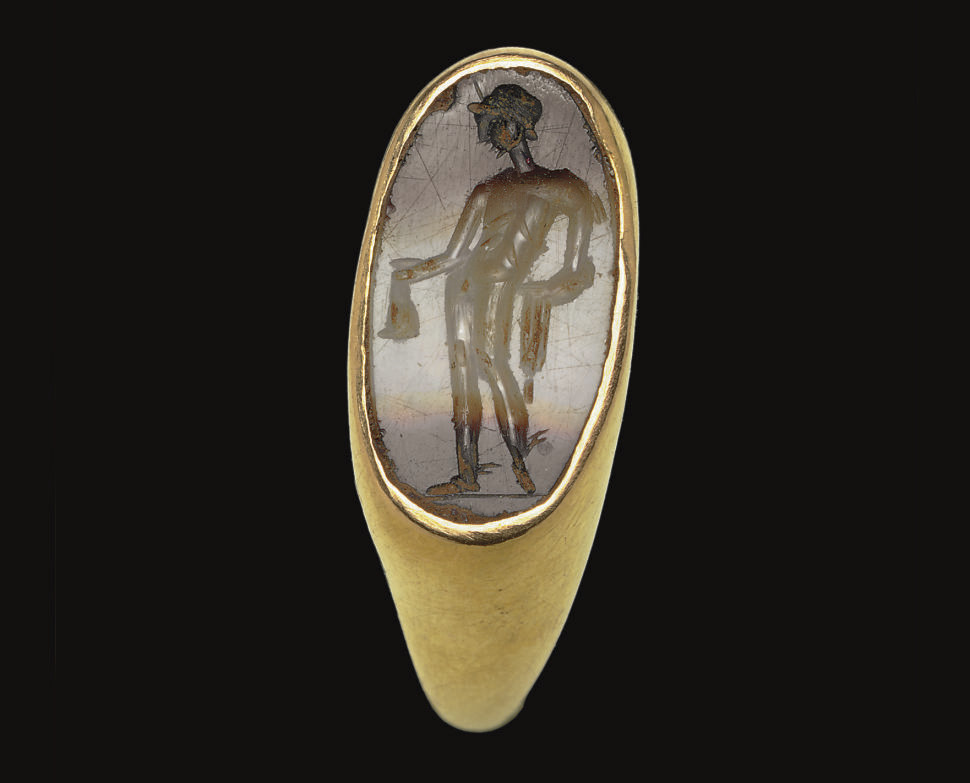 A ROMAN BANDED AGATE RINGSTONE