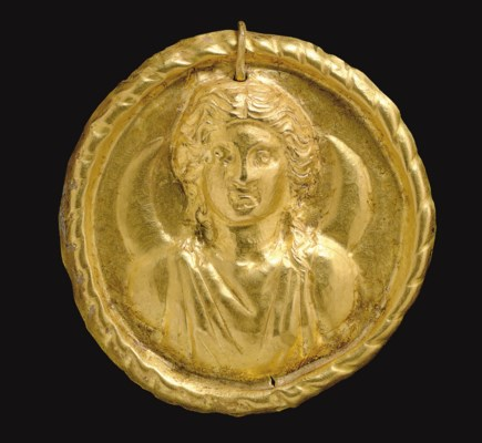 A ROMAN GOLD MEDALLION OF LUNA