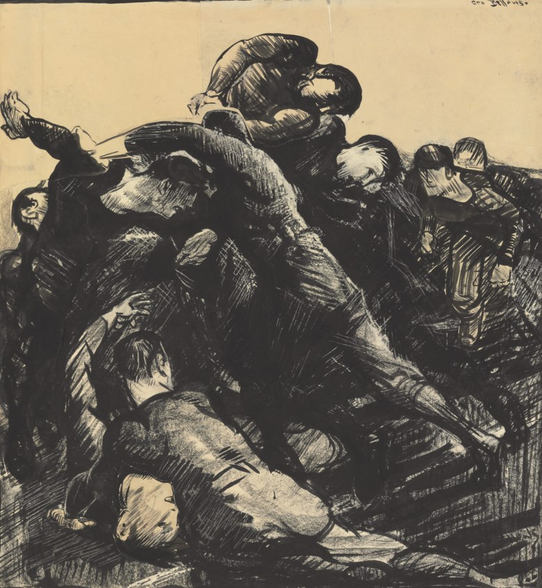 George Wesley Bellows (1882-1925),Hold Em, executed in August 1912. 22¼ x 21  in (56.5 x 53.3  cm). Sold for $362,500 on 4 December 2008 at Christie's in New York