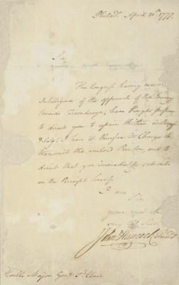 HANCOCK, John. Letter signed (