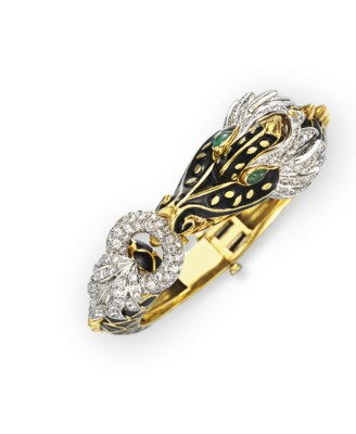 AN ENAMEL, DIAMOND AND GOLD DR