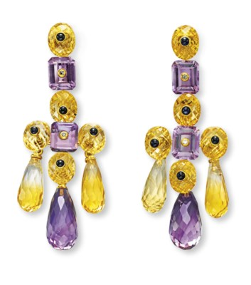 A PAIR OF AMETHYST, CITRINE AN