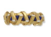 A LAPIS LAZULI, DIAMOND AND GOLD BRACELET, BY ALDO CIPULLO, CARTIER
