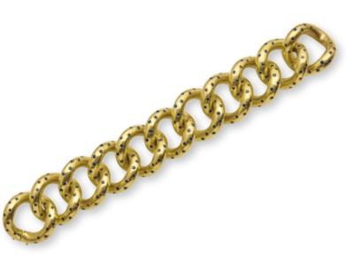 A RETRO GOLD AND SAPPHIRE BRAC