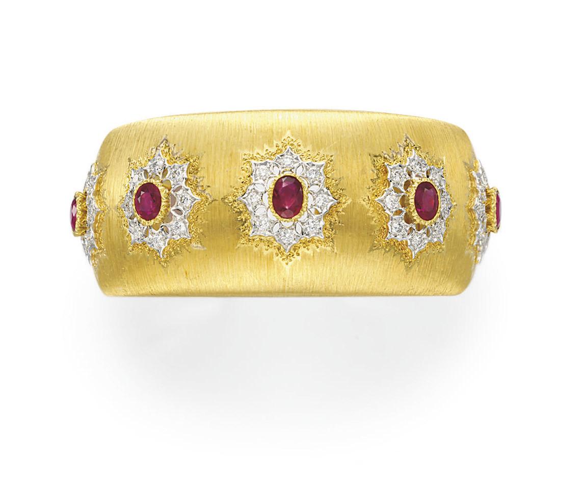 A RUBY, DIAMOND AND GOLD BRACE