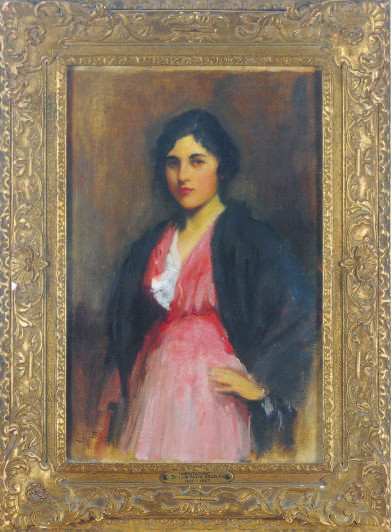 Portrait of a girl in a pink dress