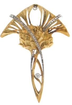 AN ART NOUVEAU DIAMOND, GOLD A
