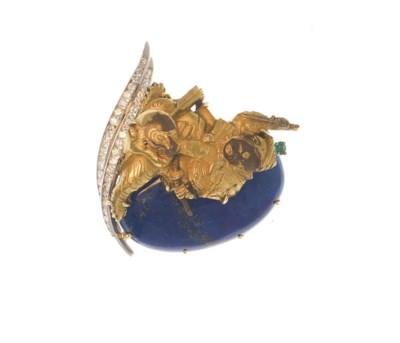 A LAPIS LAZULI, DIAMOND, EMERA