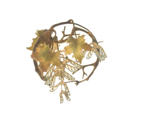 AN ART NOUVEAU ENAMEL AND GOLD