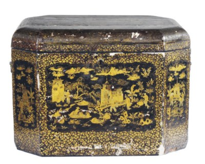 A CHINESE EXPORT LACQUER HEXAG