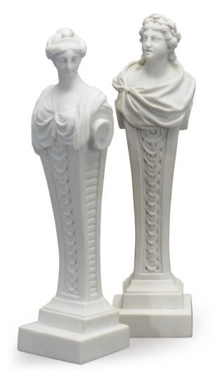 TWO FRENCH BISCUIT BUSTS OF MU