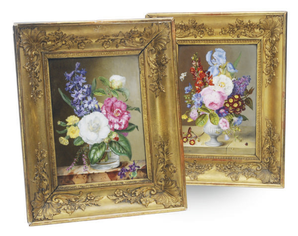 TWO FRENCH PORCELAIN PAINTED P