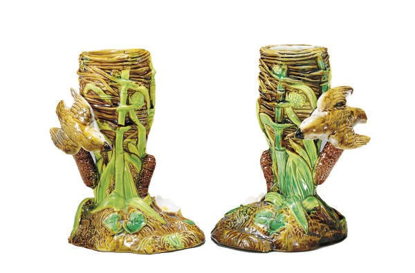 A PAIR OF ENGLISH MAJOLICA 'WR