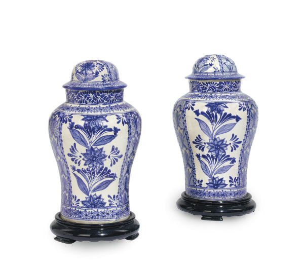 A PAIR OF MEXICAN FAIENCE BALU