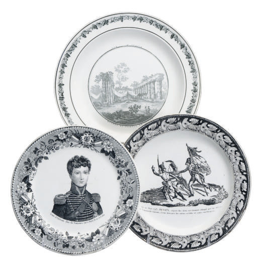 A GROUP OF FORTY-FIVE FRENCH PRINTED CREAMWARE BLACK TRANSFER-PRINTED PLATES,