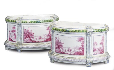 A PAIR OF FRENCH FAIENCE DEMIL