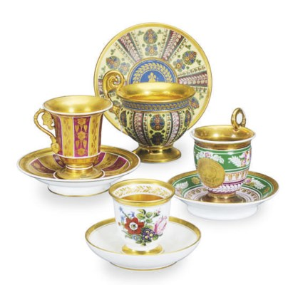 FOUR PARIS PORCELAIN TEACUPS A