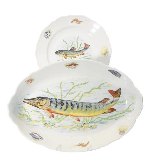 A FRENCH PORCELAIN PART FISH S