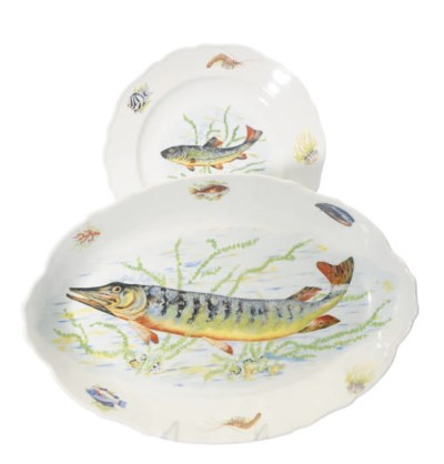 A FRENCH PORCELAIN PART FISH S