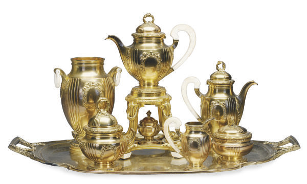 A FRENCH IVORY-MOUNTED SILVER-