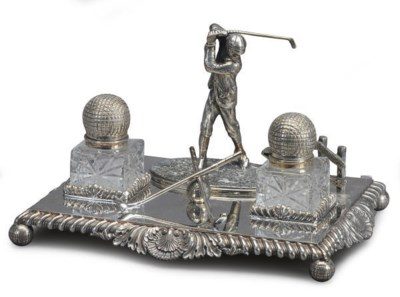 AN ENGLISH SILVER-PLATED GOLF-