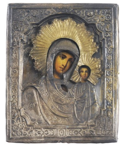 A METAL-MOUNTED MOTHER OF GOD
