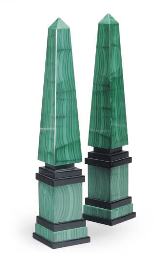 A PAIR OF MALACHITE VENEERED O