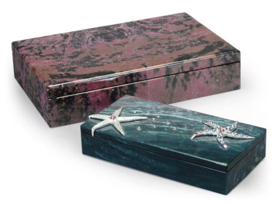 A LARGE PINK GRANITE BOX WITH