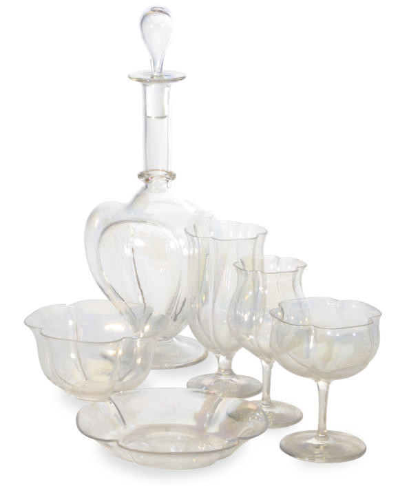 A SET OF IRIDSCENT LOBED GLASS