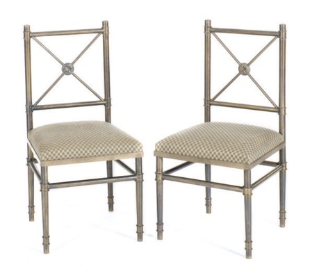A PAIR OF BRONZE SIDE CHAIRS,