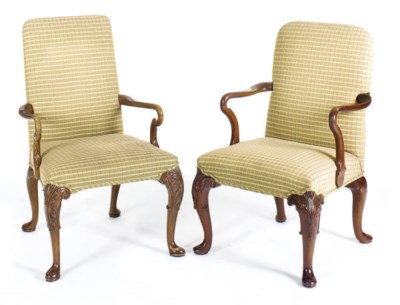 TWO PAIRS OF MAHOGANY AND UPHO