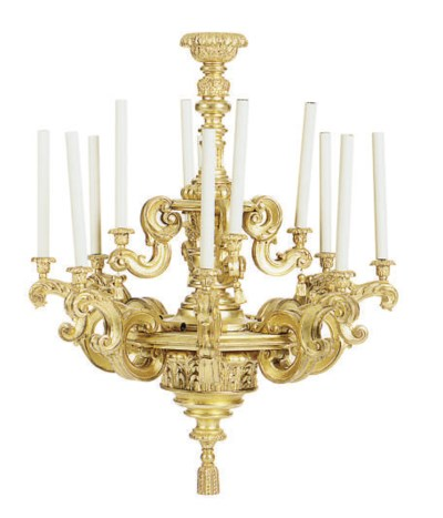 A GILTWOOD TWELVE-LIGHT CHANDE