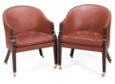 A PAIR OF MAHOGANY AND RED-LEA