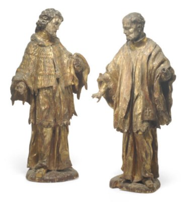 A PAIR OF GILTWOOD FIGURES OF