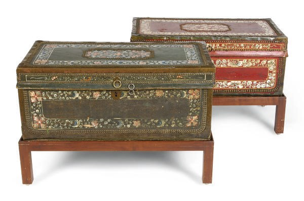 TWO LACQUERED AND POLYCRHOME-D
