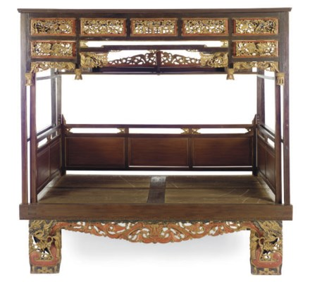 A CHINESE HARDWOOD CANOPY BED,