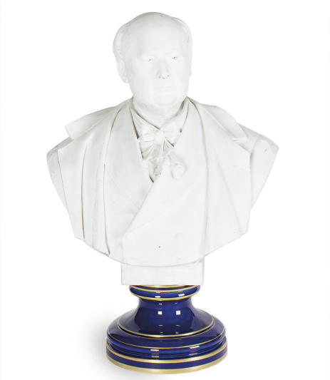 A BISCUIT PORCELAIN BUST OF J.