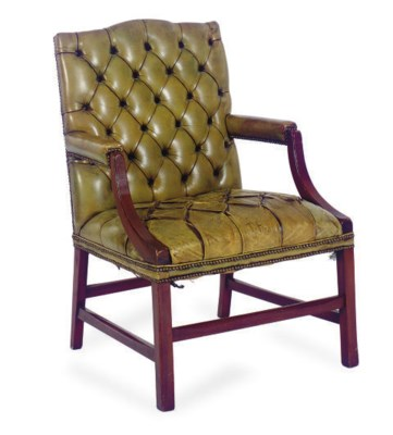 AN ENGLISH MAHOGANY AND TUFTED