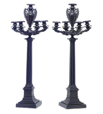 A PAIR OF PATINATED BRONZE FIV