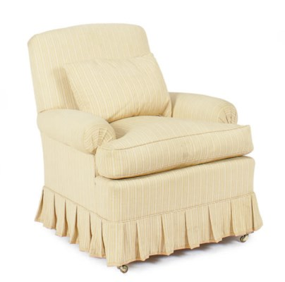 AN UPHOLSTERED CLUB CHAIR,