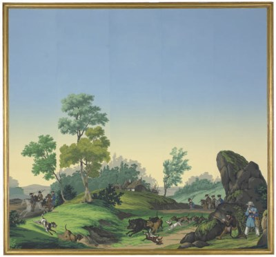 A FRAMED ZUBER PANORAMIC WALLP
