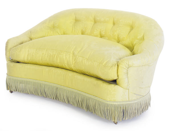 A YELLOW SILK FLORAL UPHOLSTER