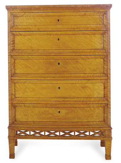 A SATIN BIRCH TALL CHEST-OF-DR